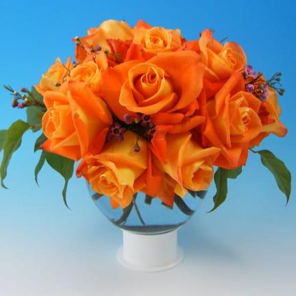 Orange Rose Ball Vase