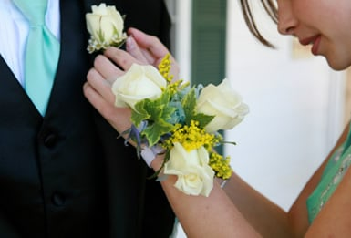 Matching corsage and boutonniere!