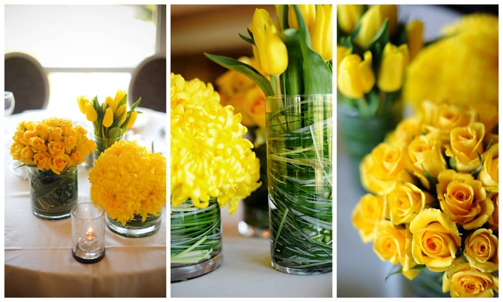 These arrangements feature yellow roses carnations football mums and green