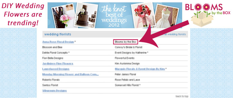 "BloomsByTheBox.com is a Featured ""The Knot Best of Weddings 2012"" Vendor!"