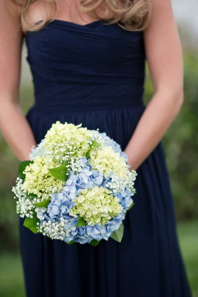 blue and green hydrangea bouquet