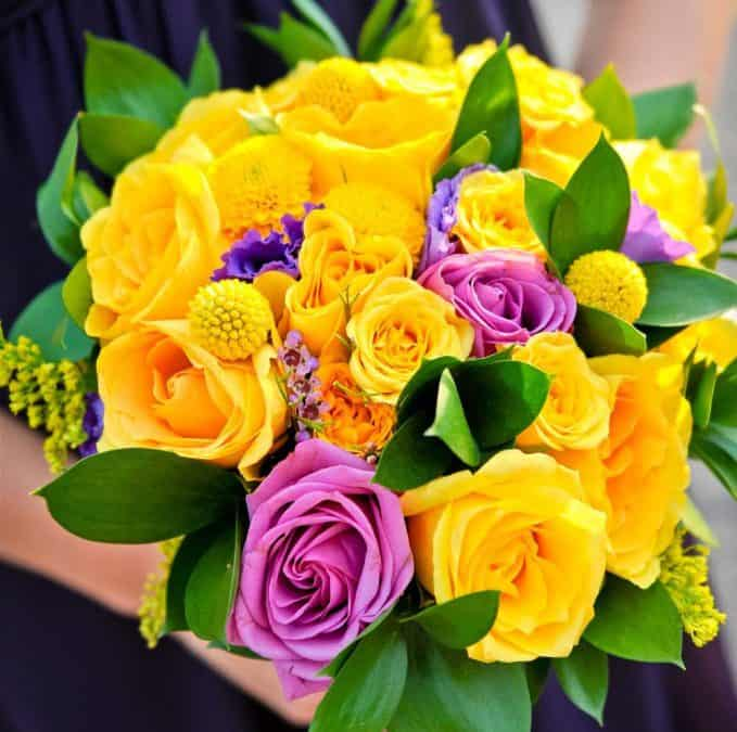 Diy purple and yellow wedding bouquets real wedding purple and yellow diy wedding flower inspiration mightylinksfo