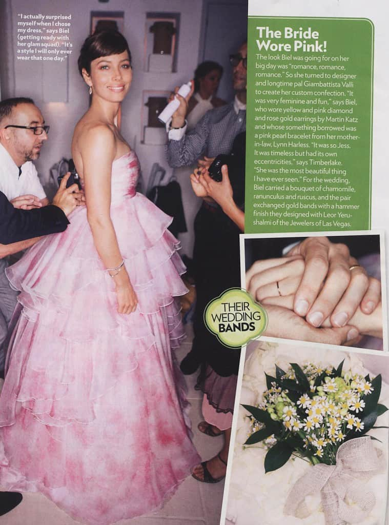Jessica Biel Wedding Bouquet and Dress! People Mag.