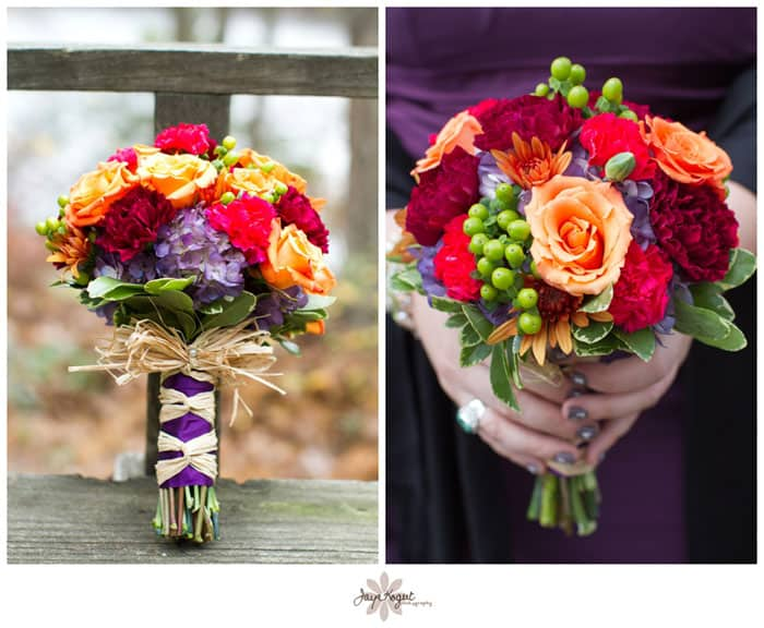 Orange And Purple Wedding Bouquets