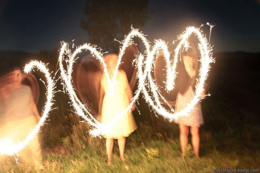 Fire Sparkler Hearts