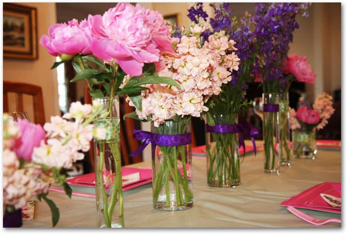 DIY Bridal Shower Flowers featuring Peonies, Larkspur, and Stock