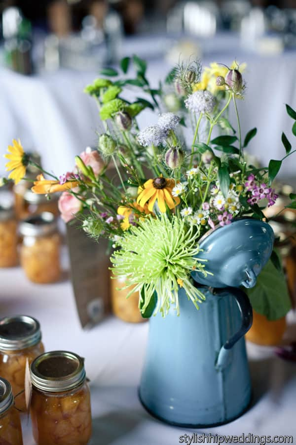Wildflowers in a Watering Can at DIY Wedding