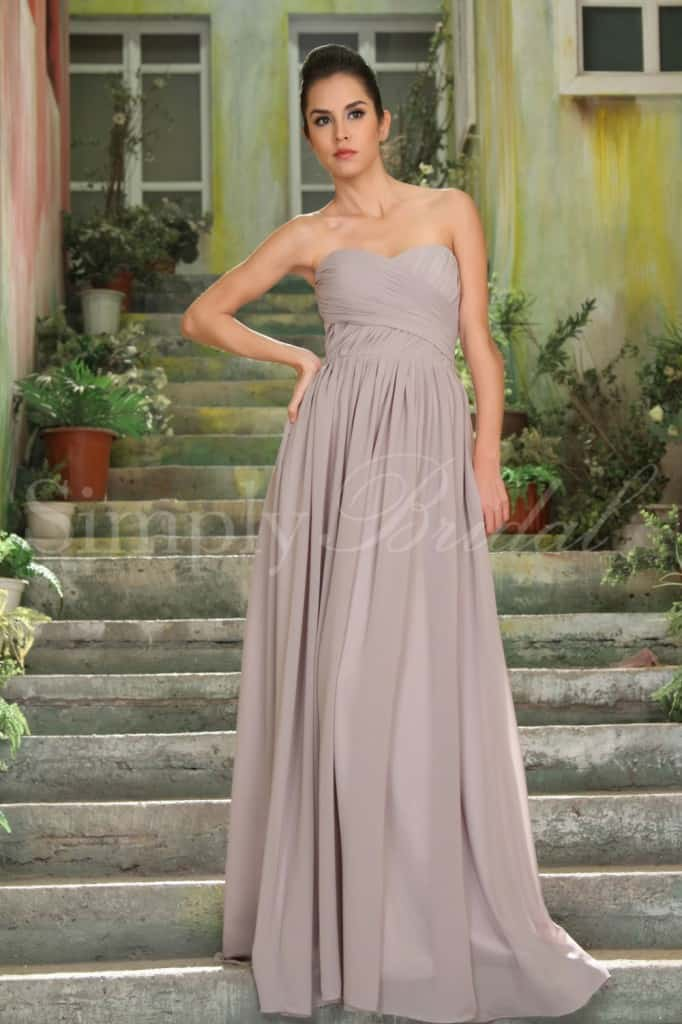 Long Beige Bridesmaids Dress
