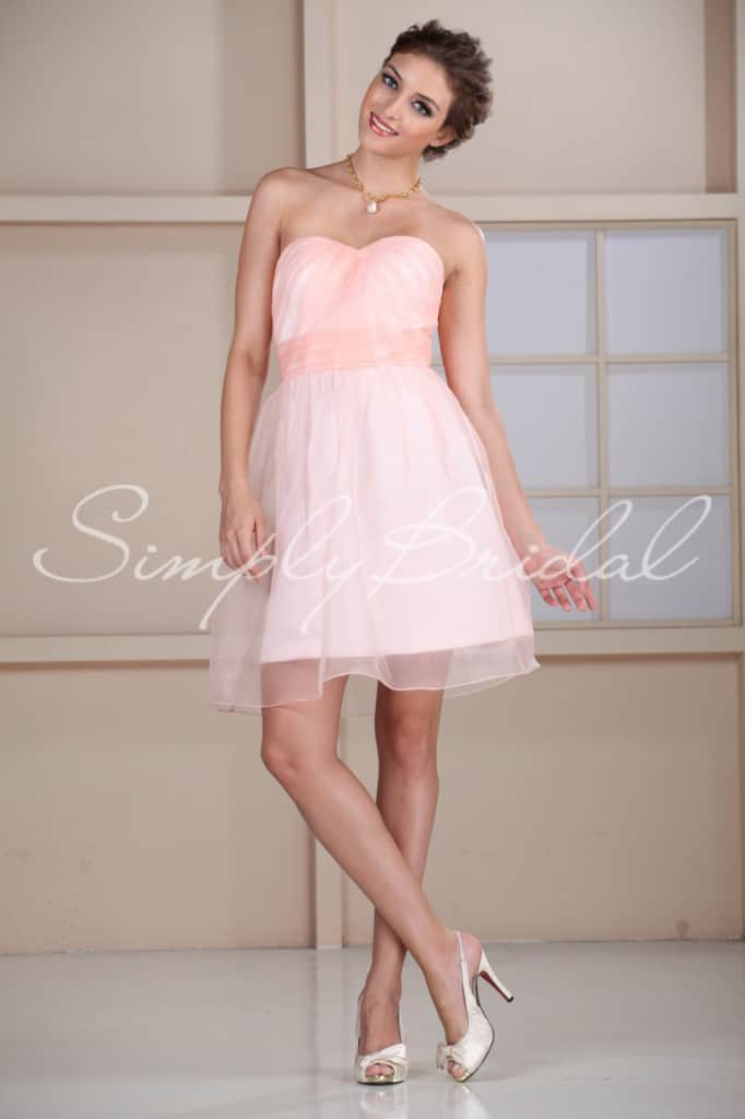 Trendy short pink bridesmaid dress