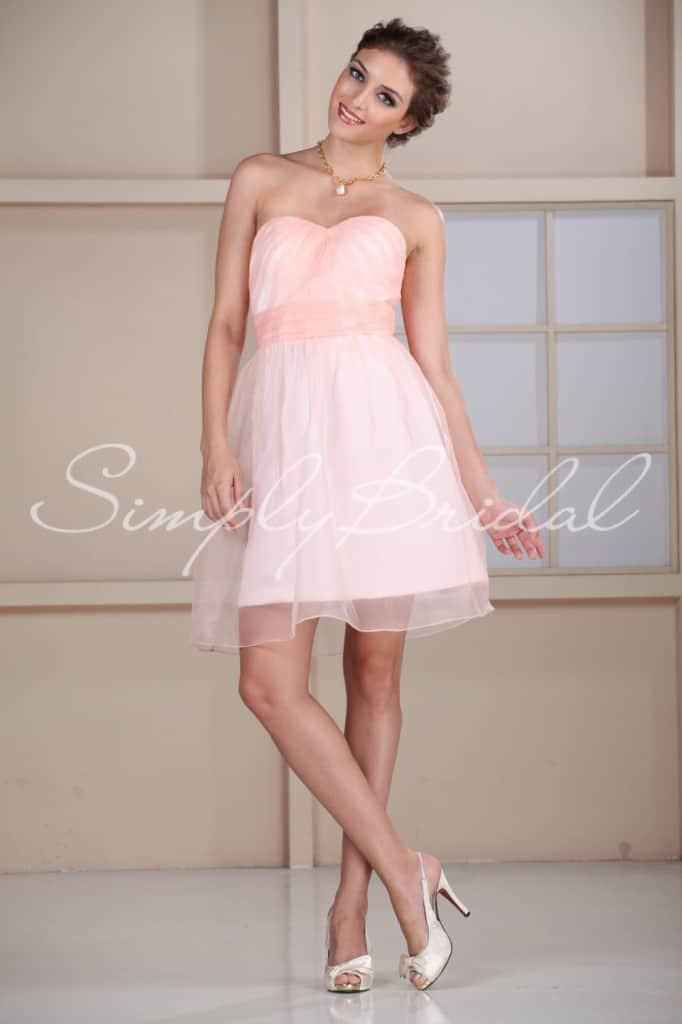 Trendy short pink bridesmaid dress