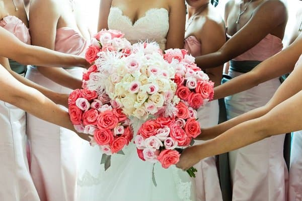 Coral, Pink, and White Wedding Bouquets