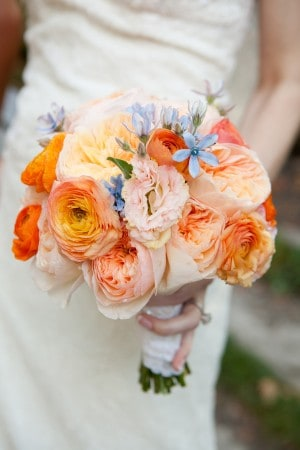 Wedding Bouquet - Blue Orange Yellow