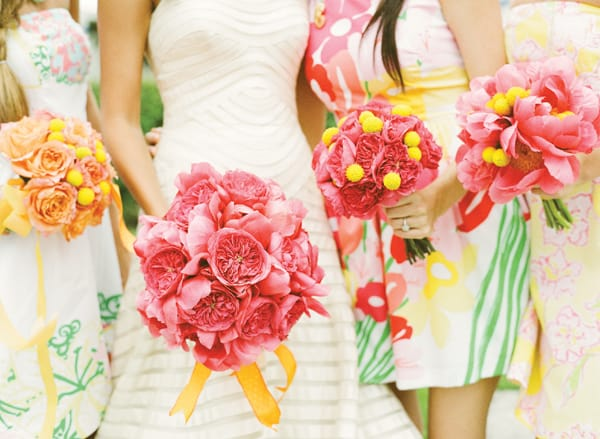 Yellow and Pink Wedding Flower Bouquets