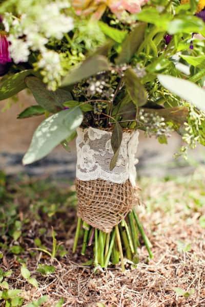 Lace and Burlap Bouquet Wrap