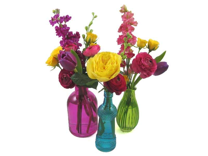 Diy Wedding Flowers Colorful Bud Vase Centerpieces Budget