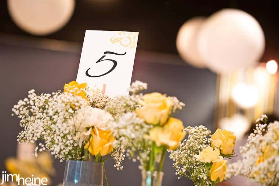 Yellow and White Flowers with Table Numbers