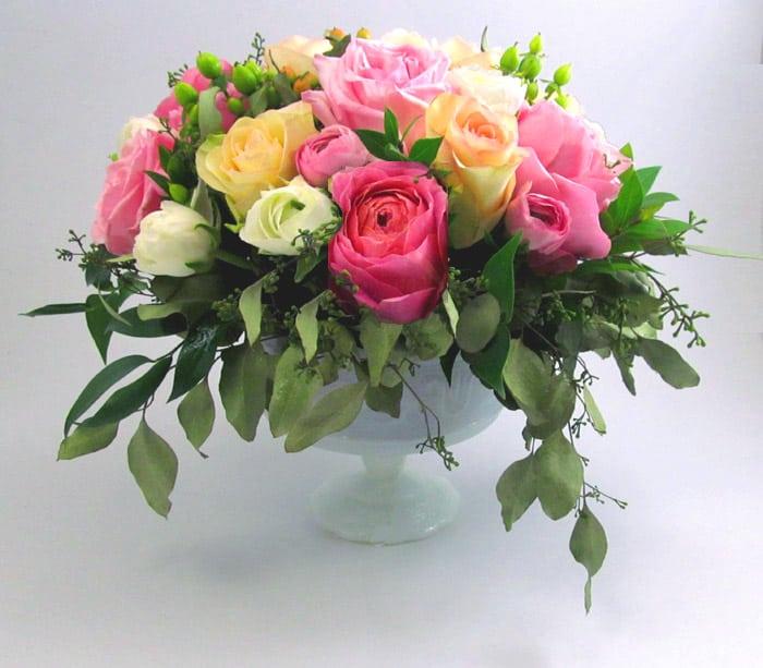 DIY Ranunculus and Garden Rose Centerpiece