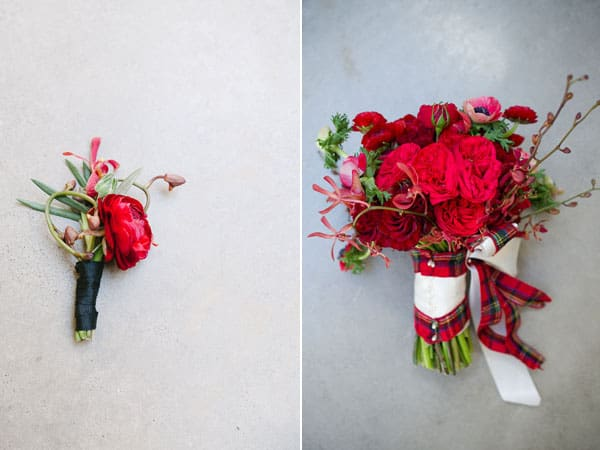 Red bouquet and boutonniere