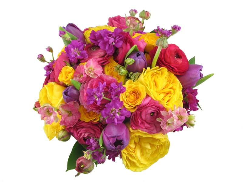 15 Purple Pink and Yellow Bouquet