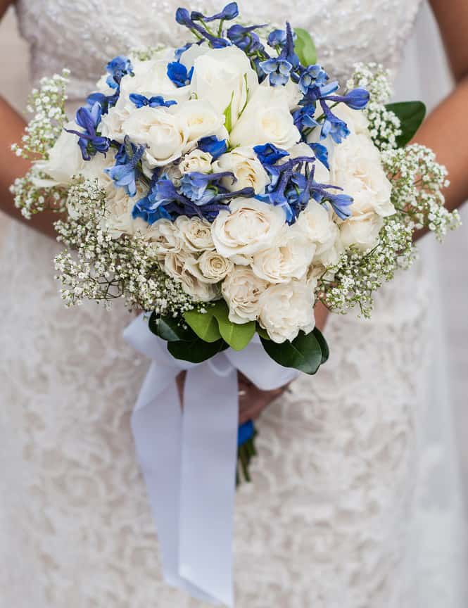 Blue and White DIY Wedding Flowers - Real Wedding!