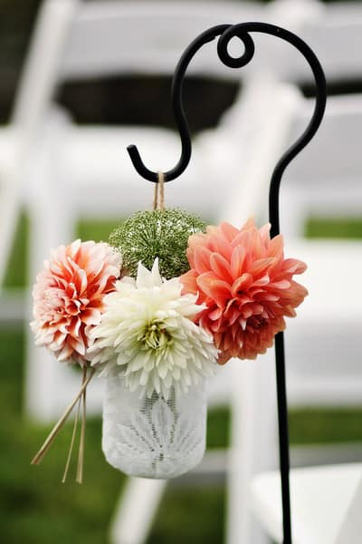Dahlia wedding ceremony decor