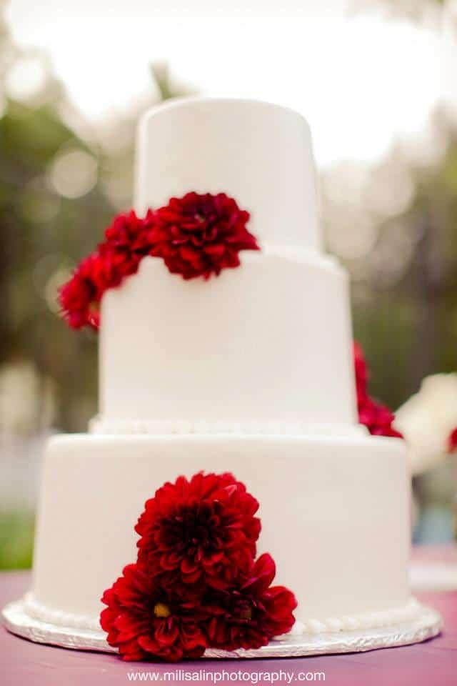 Dahlias on Wedding Cake