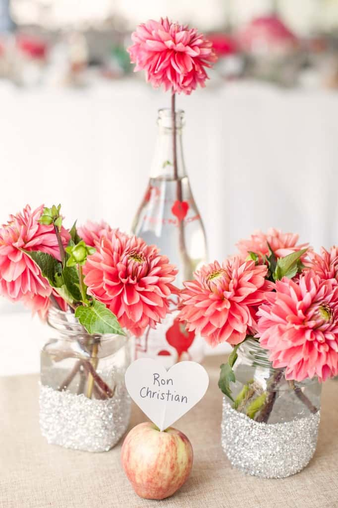 Pink Dahlias in mason jars with glitter