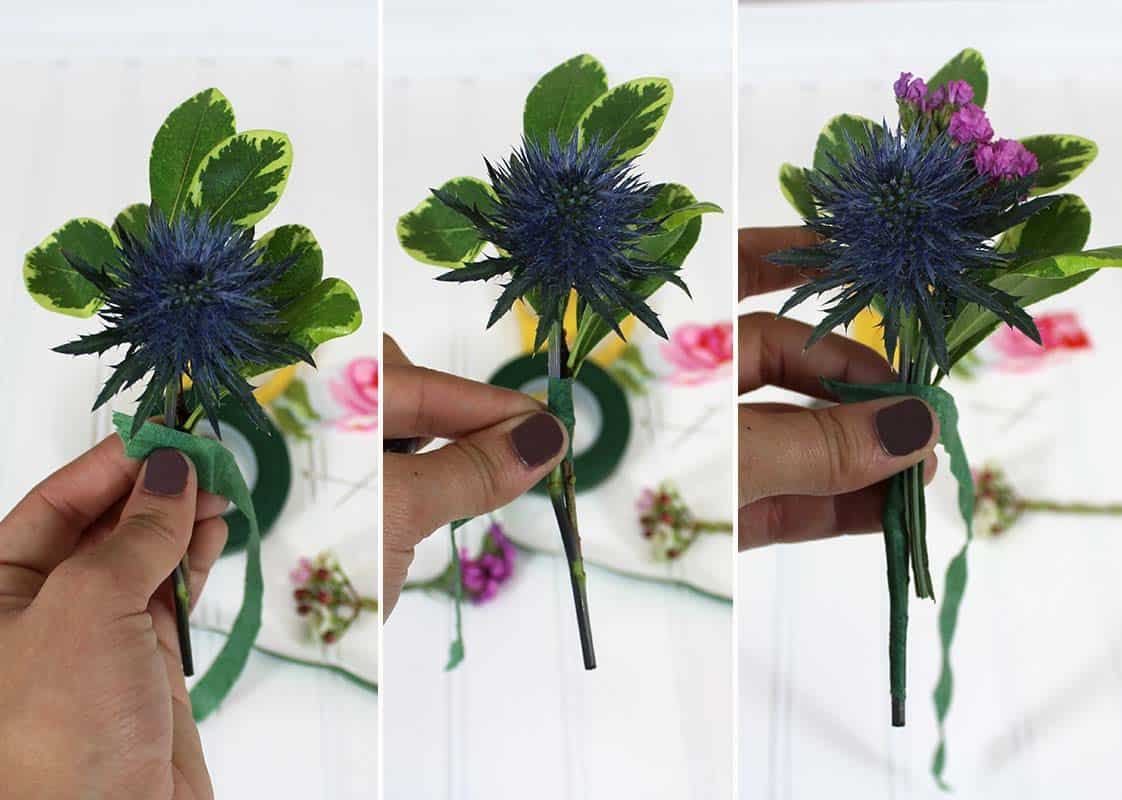 2- layering flowers in boutonniere