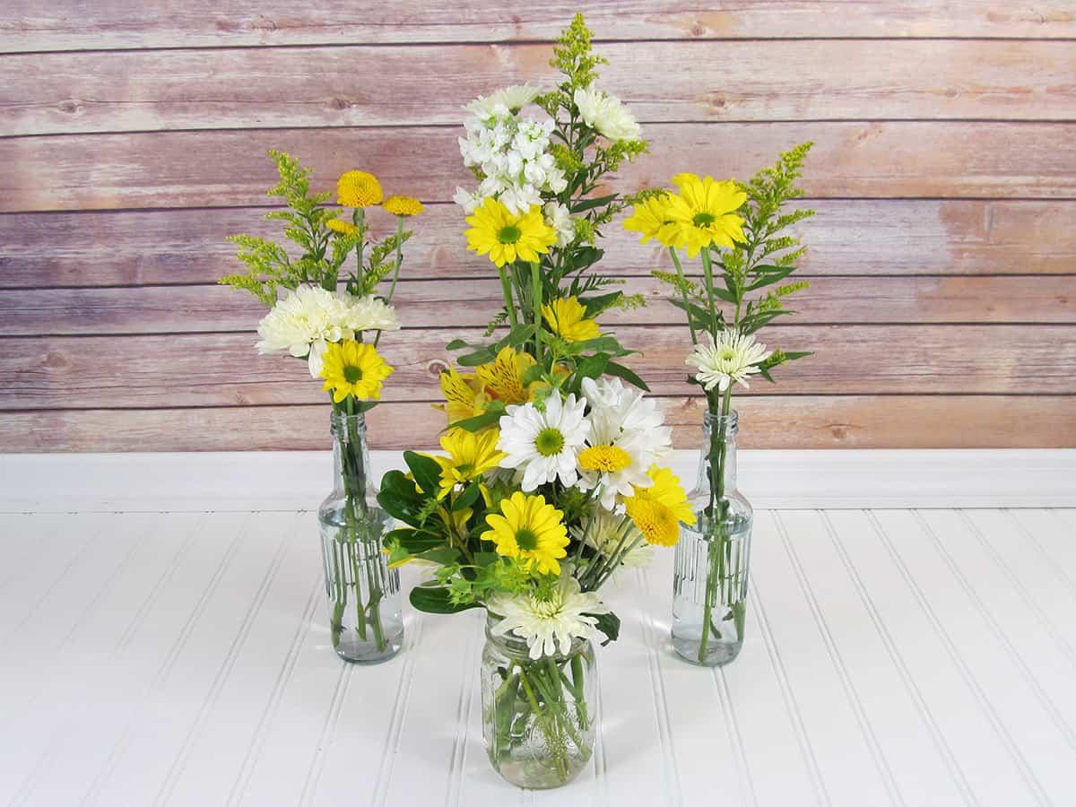Step 5- Yellow Wildflower Centerpieces