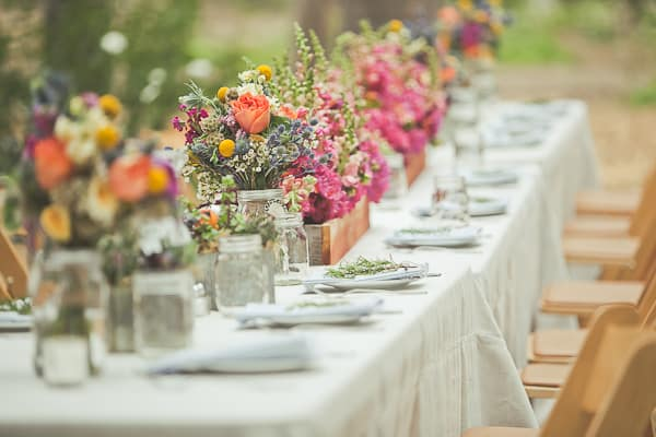 Bohemian Wedding Flower Centerpieces