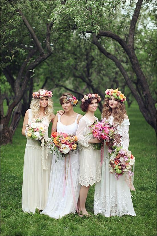bohemian-wedding-flower-crown-bouwuet