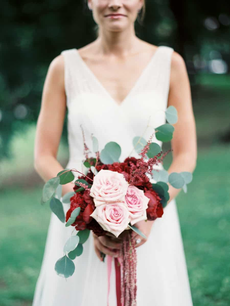 red peony and pink garden rose bouquet
