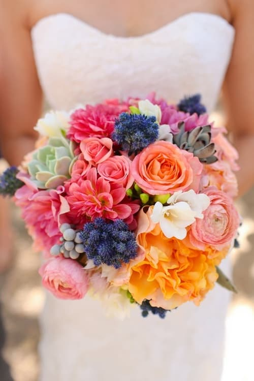 Bright wedding bouquet style