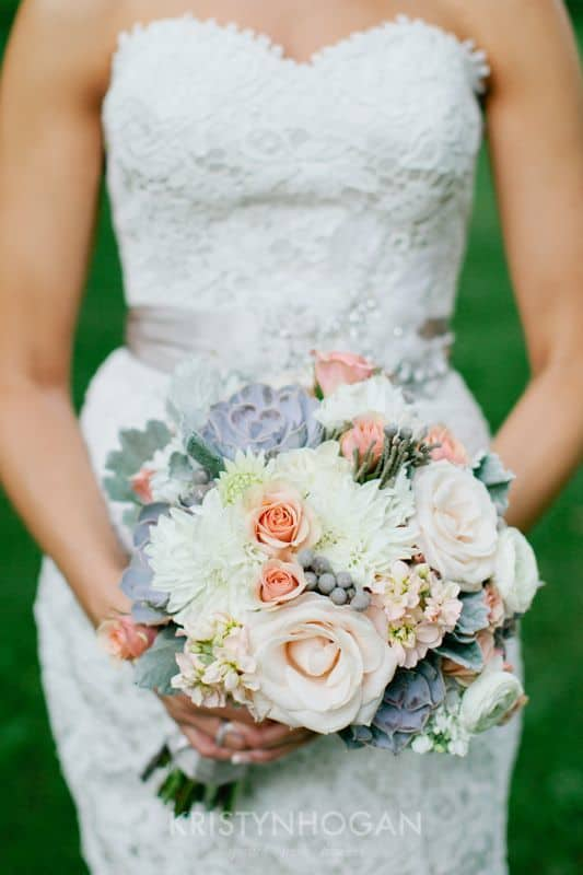 Southern Peach and Gray Wedding Bouquetr