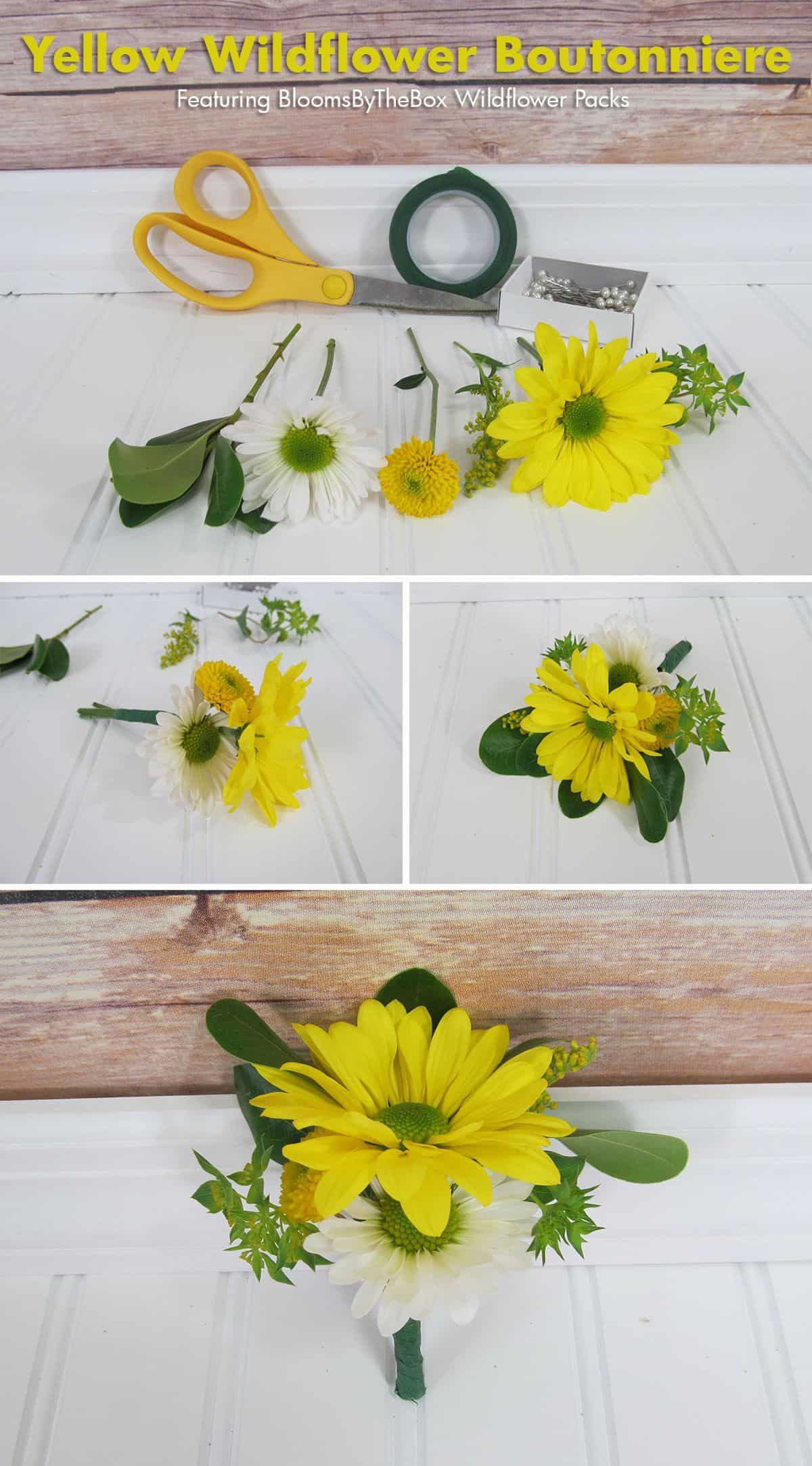 Yellow-Wildflower-Boutonierre with-Text