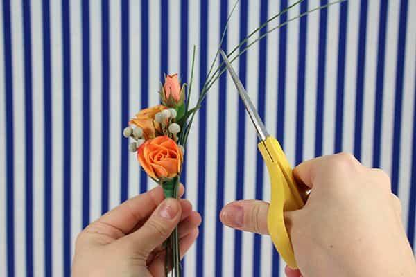 diy spray rose boutonniere tutorial- third bunch