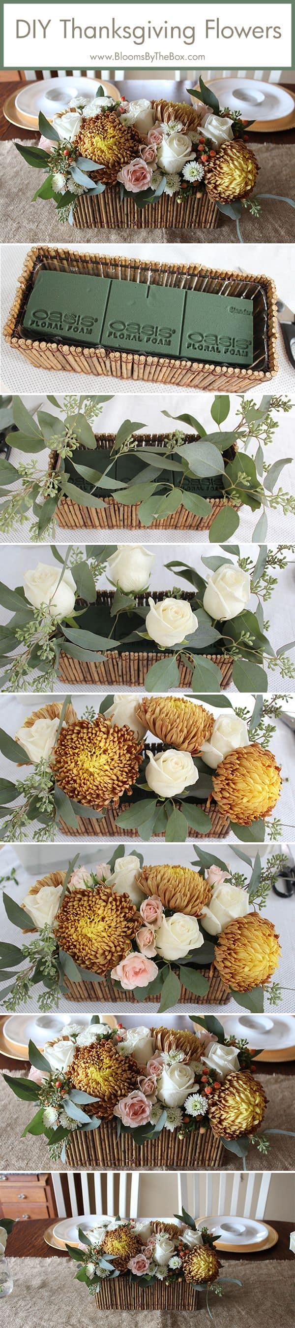 DIY Thanksgiveaway Flower Centerpiece Tutorial