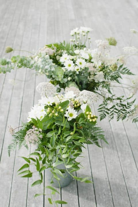 green and white flowers, laid back wedding