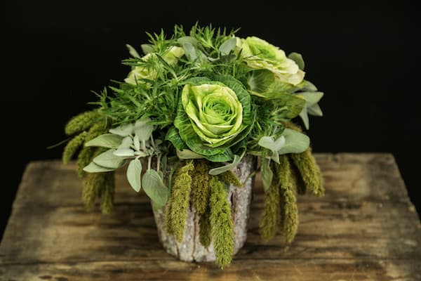 DIY Frosted Greenery Floral arrangement