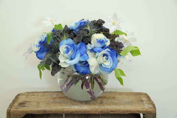 Dyed Blue Rose, Eddie Zaratsian, Bloomsbythebox, Bubble Vase