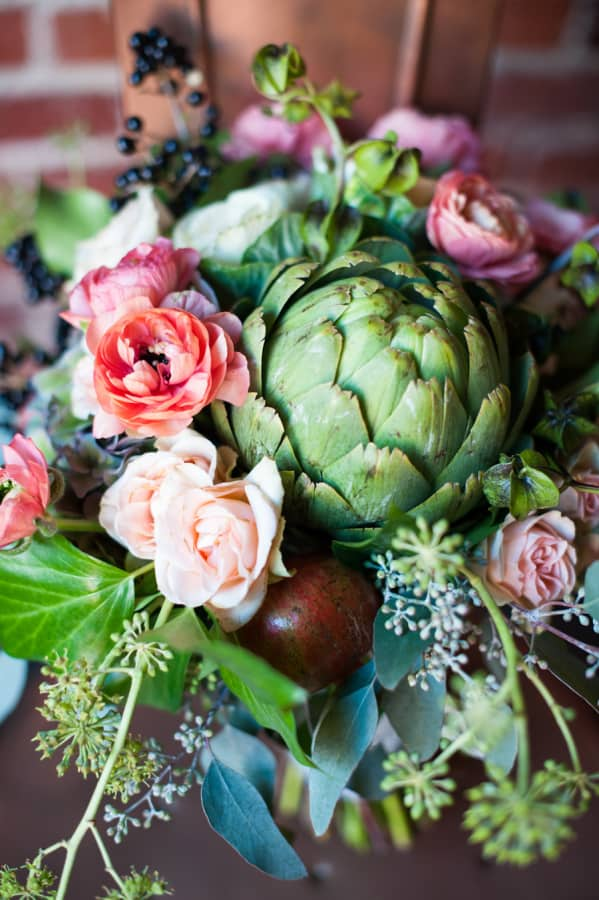 Maximize your DIY budget by including fruits and veggies in to your floral arrangements!
