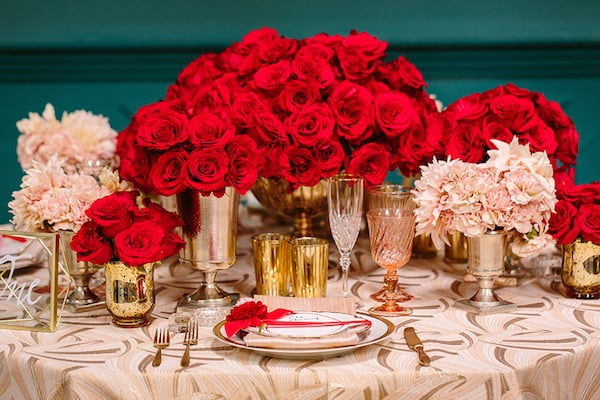 Hollywood Wedding, Luxury Wedding, Red Wedding, Tablescape, Wedding Inspiration, Red Roses