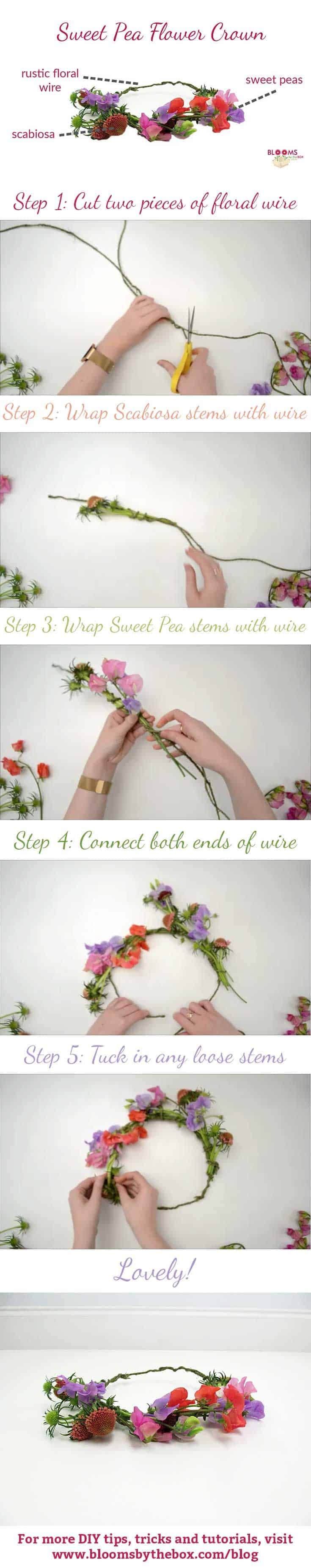 Diy sweet pea flower crown budget friendly beauty step by step izmirmasajfo
