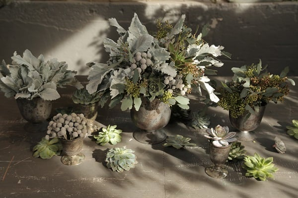 DIY, tutorial, grey centerpiece, floral centerpiece, DIY