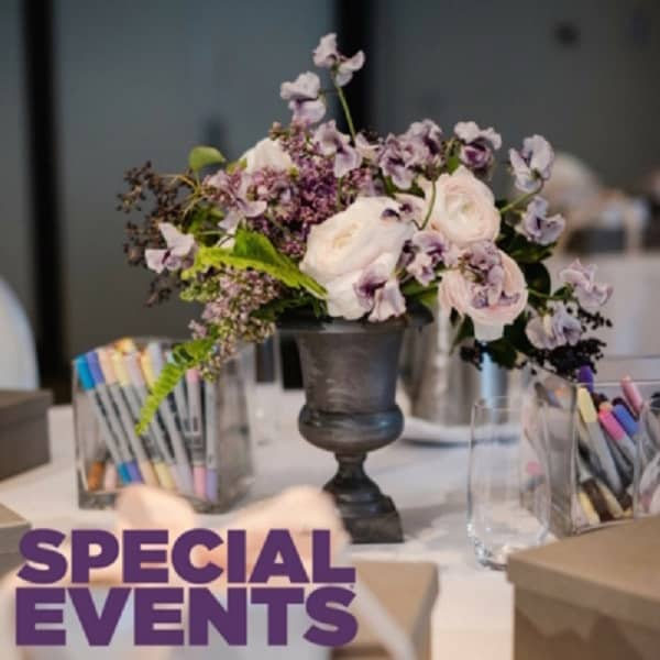 Special Event, Sketchbook Series, Blooms By The Box, Eddie Zaratsian, Tablescape, Purple Flowers, White Flowers