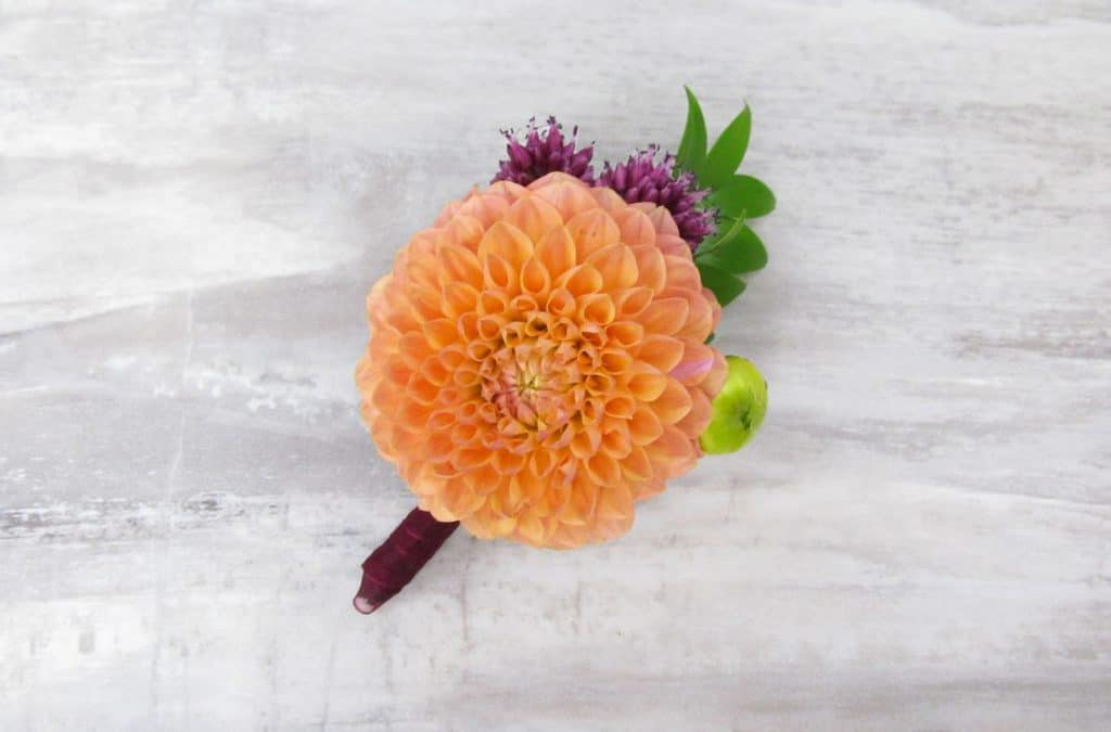 DIY Sunset Dahlia Boutonniere