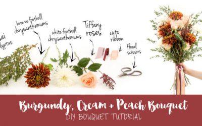 Easy Burgundy + Cream DIY Wedding Bouquet Tutorial on Confetti Daydreams