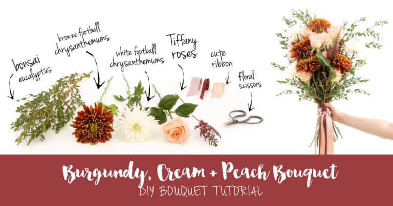 Easy Burgundy + Cream DIY Wedding Bouquet Tutorial on Confetti Daydreams
