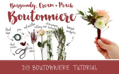 Burgundy and Cream DIY Wedding Boutonniere Tutorial featured on Confetti Daydreams