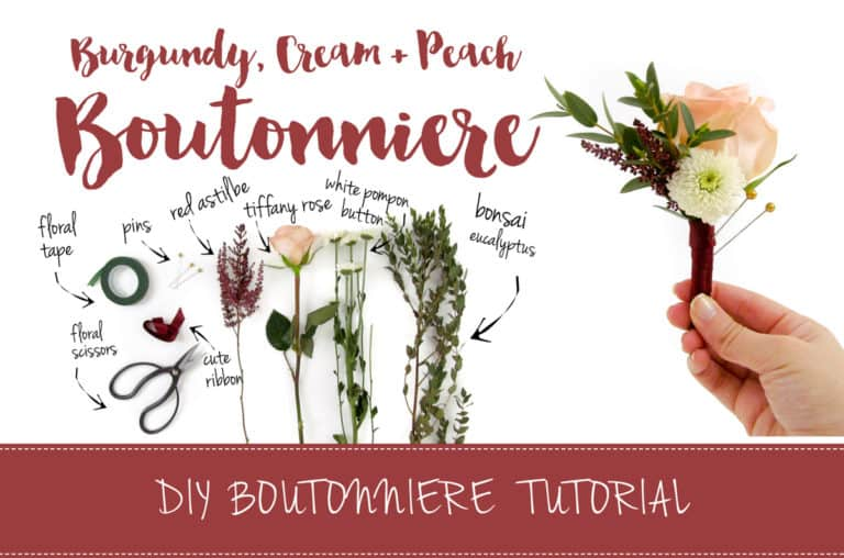 Burgundy and Cream DIY Wedding Boutonniere Tutorial featured on Confetti Daydreams